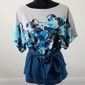 B2G1 NY & Co Gray/Blue Floral Tie-waist Blouse